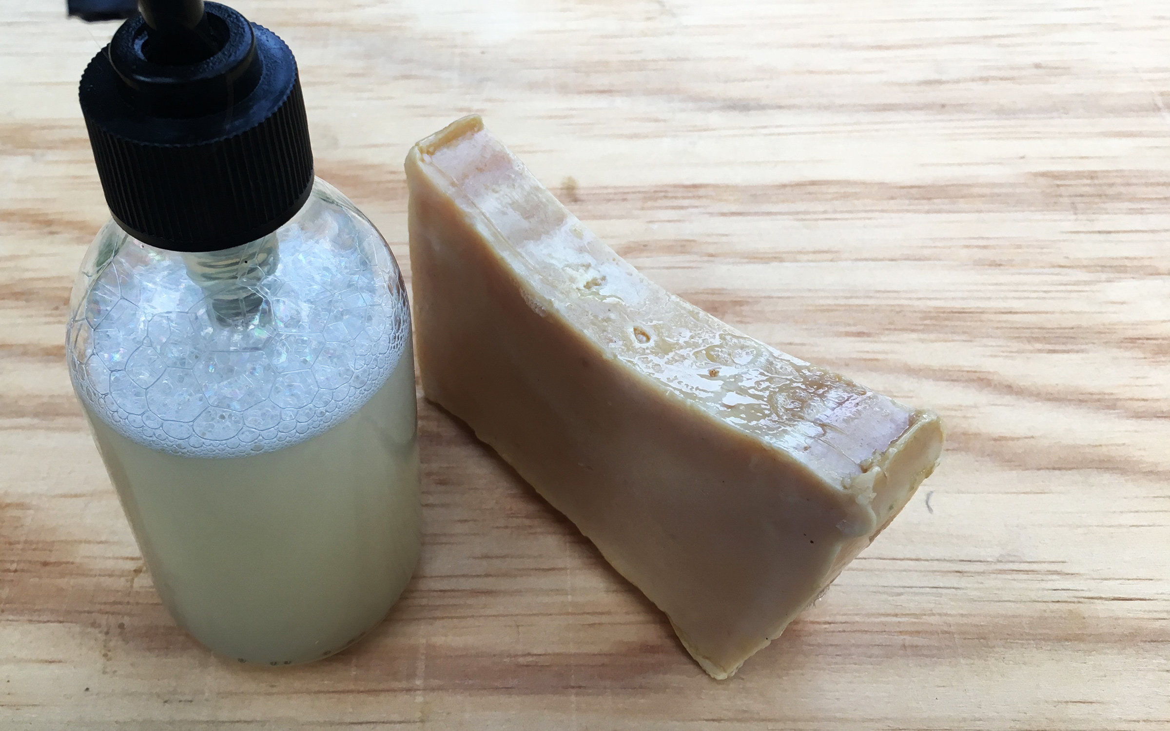 recipe image: melted soap bar into liquid soap